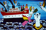 Painting depicting the life of Ahmadou Bamba, a Muslim Sufi religious leader in Senegal, founder of the large Mouride Brotherhood. The French sentenced him to exile in Gabon and later in Mauritania. However, these exiles fired stories and folk tales of Bamba's miraculous survival of torture, deprivation, and attempted executions. On the ship to Gabon, forbidden from praying, Bamba is said to have broken his leg-irons, leapt overboard into the ocean and prayed on a prayer rug that appeared on the surface of the water.