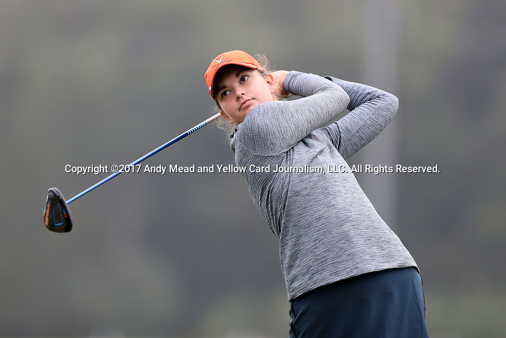 CHAPEL HILL, NC - OCTOBER 15: Virginia's Kate Harper on the 1st tee. The third and final round of the Ruth's Chris Tar Heel Invitational Women's Golf Tournament was held on October 15, 2017, at the UNC Finley Golf Course in Chapel Hill, NC.