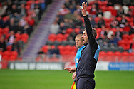Luton Town manager Nathan Jones appeals to the ref during the EFL Sky Bet League 1 match between Doncaster Rovers and Luton Town at the Keepmoat Stadium, Doncaster, England on 8 September 2018.