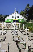 Papua New Guinea, Ali Island, church and cemetary<br />