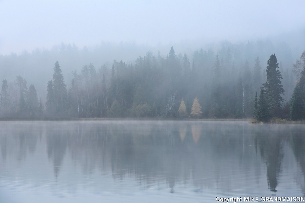 Long Lake reflection in fog<br />Longlac<br />Ontario<br />Canada