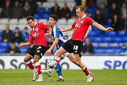 Bristol City's Aaron Wilbraham and Korey Smith in action - Photo mandatory by-line: Matt McNulty/JMP - Mobile: 07966 386802 - 03/04/2015 - SPORT - Football - Oldham - Boundary Park - Oldham Athletic v Bristol City - Sky Bet League One