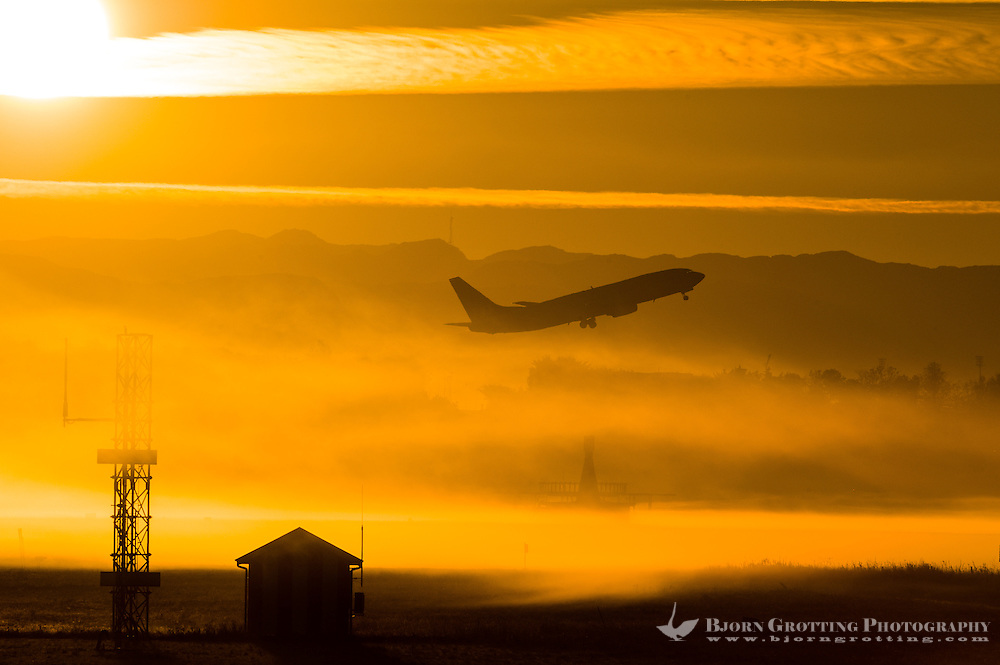Norway, Sola. Sunrise at Sola Airport.