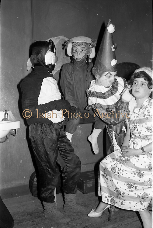 """29/03/1963<br /> 03/29/1963<br /> 29 March 1963<br /> Schools drama festival at the Gate Theatre, Dublin Image shows, preparing for their presentation of """"Circus Coco"""" pupils of St. Joseph's School, Mardyke, Cork. Left- right are: Robert Donavan; William Keating; Finbarr Carlile and Barry McCarthy."""
