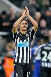 Ayoze Perez of Newcastle United celebrates and applauds the supporters after Newcastle win 2-1 to inflict a first defeat in all competitions this season on Chelsea - Photo mandatory by-line: Rogan Thomson/JMP - 07966 386802 -06/12/2014 - SPORT - FOOTBALL - Newcastle, England - St James' Park - Newcastle United v Chelsea - Barclays Premier League.