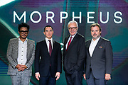 Peter Remedios, Principal and Managing Director of Remedios Studio, Mr. Lawrence Ho, Chairman and CEO of Melco Resorts & Entertainment, Legendary Chef Alain Ducasse, French pastry chef Pierre Herme posing in press conference during Melco Morpheus building Opening in Macau, China, on 15 June 2018. Photo by Graham Uden