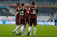 GOAL 1-2 Leeds United midfielder Jack Harrison (22), on loan from Manchester City, scores a goal and celebrates to make the score 1-2 during the Premier League match between Newcastle United and Leeds United at St. James's Park, Newcastle, England on 26 January 2021.