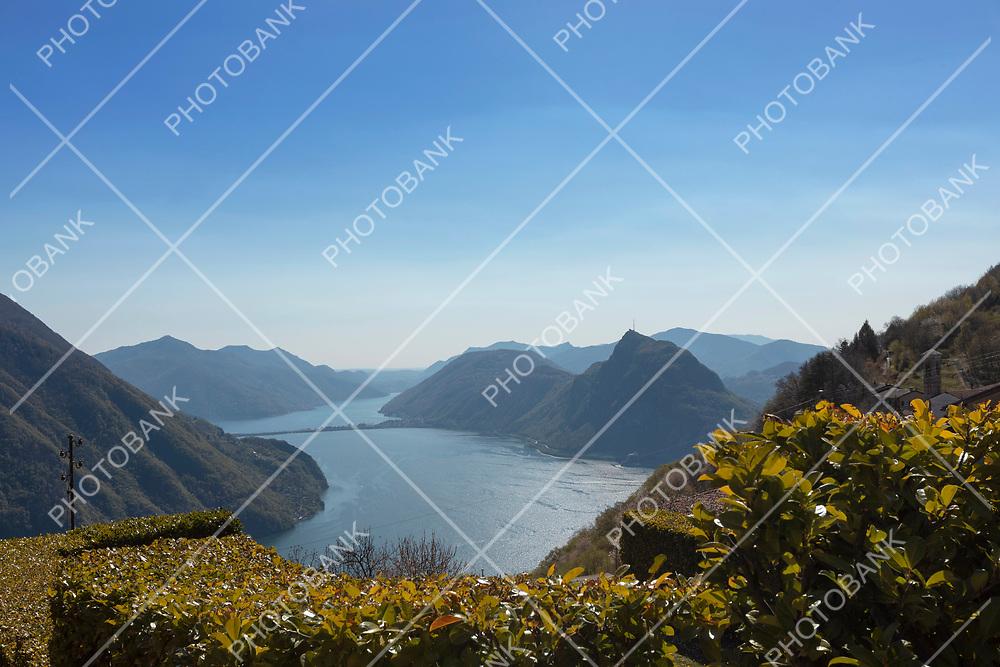 08.04.2021 Brè Paese in Ticino, Switzerland. Panorama of Lake Lugano from Brè Paese. Sunny spring day