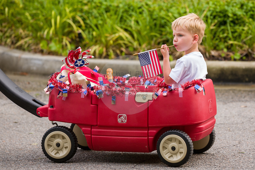 A child rides along in a wagon decorated in patriotic colors wearing during the Daniel Island Independence Day parade July 3, 2015 in Charleston, South Carolina.