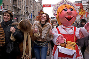 Moscow, Russia, 13/03/2005..Russians in Moscow celebrate the  final day of Maslenitsa, or Pancake Week, a Russian holiday which dates back to pagan times and marks the official end of winter. Maslenitsa parade through central Moscow.