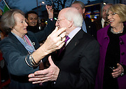 President Elect Michael D Higgins arriving back to Hotel Meyrick in Galway to a huge welcome from Lelia Doolan Photo:Andrew Downes