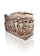 """Roman relief sculpted Hercules sarcophagus with kline couch lid, """"Columned Sarcophagi of Asia Minor"""" style typical of Sidamara, 250-260 AD, Konya Archaeological Museum, Turkey. Against a white background. .<br /> <br /> If you prefer to buy from our ALAMY STOCK LIBRARY page at https://www.alamy.com/portfolio/paul-williams-funkystock/greco-roman-sculptures.html . Type -    Konya     - into LOWER SEARCH WITHIN GALLERY box - Refine search by adding a subject, place, background colour, museum etc.<br /> <br /> Visit our ROMAN WORLD PHOTO COLLECTIONS for more photos to download or buy as wall art prints https://funkystock.photoshelter.com/gallery-collection/The-Romans-Art-Artefacts-Antiquities-Historic-Sites-Pictures-Images/C0000r2uLJJo9_s0"""