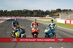 November 17, 2019, Cheste, VALENCIA, SPAIN: Alex Marquez, rider of EG 0,0 Marc VDS from Spain, Marc Marquez, rider of Repsol Honda Team from Spain, and Lorenzo Dalla Porta, raider of Leopard Racing from Italy, poses for the World Champion photo during the Valencia Grand Prix of MotoGP World Championship celebrated at Circuit Ricardo Tormo on November 16, 2019, in Cheste, Spain. (Credit Image: © AFP7 via ZUMA Wire)