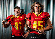 Kamiakin's Thomas Kirk, left, and Sterling Farrah will be dropping the hammer on opponents as the senior linebackers help lead the Braves' defense. Photographed at FallOut CrossFit in Richland.