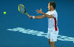 MELBOURNE, Jan. 18, 2018  Richard Gasquet of France returns a shot during the men's singles second round match against Lorenzo Sonego of Italy at Australian Open 2018 in Melbourne, Australia, Jan. 18, 2018. Richard Gasquet won 3-0. (Credit Image: © Li Peng/Xinhua via ZUMA Wire)