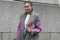 Blogger Nina Suess arrives at the Julien Macdonald Autumn / Winter 2017 London Fashion Week show at Goldsmiths Hall, London on Saturday February 18, 2017