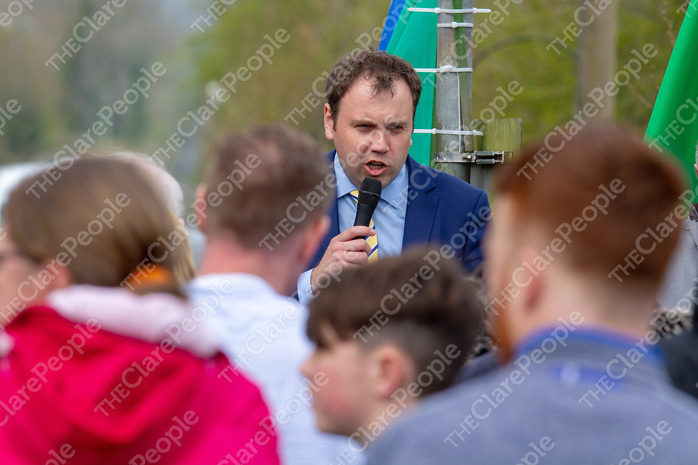 Cllr Cathal Crowe addresses the crowd at the the Commemoration of 100 year anniversary of the death of IRA Volunteer Robert Byrne in Knockalisheen, Meelick