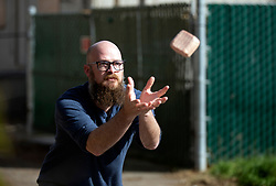 Brent Redford of Brentwood, Calif. cups his hands to catch a loaf of Spam during the Spam toss competition at the 22nd annual Spam Festival, Sunday, Feb. 16, 2019, in Isleton, Calif. Spam lovers competed for prizes by presenting their favorite Spam-infused foods, or entering the Spam-eating and Spam-toss contests. (Photo by D. Ross Cameron)