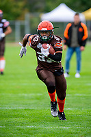 KELOWNA, BC - SEPTEMBER 8:  Simon Degraff #33 of the Okanagan Sun warms up on the field against the Langley Rams  at the Apple Bowl on September 8, 2019 in Kelowna, Canada. (Photo by Marissa Baecker/Shoot the Breeze)