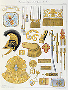 French military accoutrements including sword of the royal guard.  From 'Histoire de la maison militaire du Roi de 1814 a 1830' by Eugene Titeux, Paris, 1890.