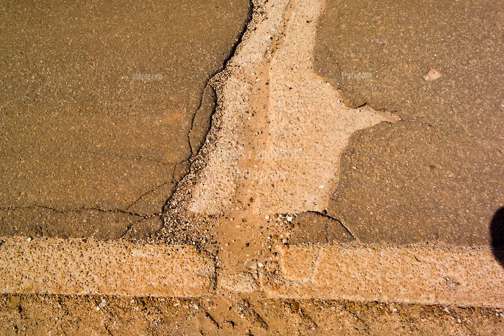 """Old US Route 66 south of Miami Oklahoma. Original alignment consisting of Portland Cement just 15 feet wide here, sometimes refered to as """"Sidewalk Highway"""""""