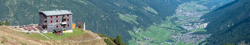 Elferhutte a restaurant and refuge on the summit of Elfer mountain, Neustift im Stubaital, Tirol, Austria