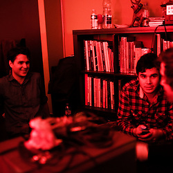 Soiree de poche #12 avec Vampire Weekend organisee par la Blogotheque dans un appartement du 11eme arrondissement. Paris, France.  23 Octobre 2009. Photo: Antoine Doyen