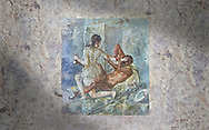 Roman Erotic Fresco from Pompeii depicting Satyr being rejected by Hermaphrodite, Naples National Archaeological Museum - 50-79 AD , inv no 110878 , Secret Museum or Secret Cabinet .<br /> <br /> If you prefer to buy from our ALAMY PHOTO LIBRARY  Collection visit : https://www.alamy.com/portfolio/paul-williams-funkystock - Scroll down and type - Roman Art Erotic  - into LOWER search box. {TIP - Refine search by adding a background colour as well}.<br /> <br /> Visit our ROMAN ART & HISTORIC SITES PHOTO COLLECTIONS for more photos to download or buy as wall art prints https://funkystock.photoshelter.com/gallery-collection/The-Romans-Art-Artefacts-Antiquities-Historic-Sites-Pictures-Images/C0000r2uLJJo9_s0