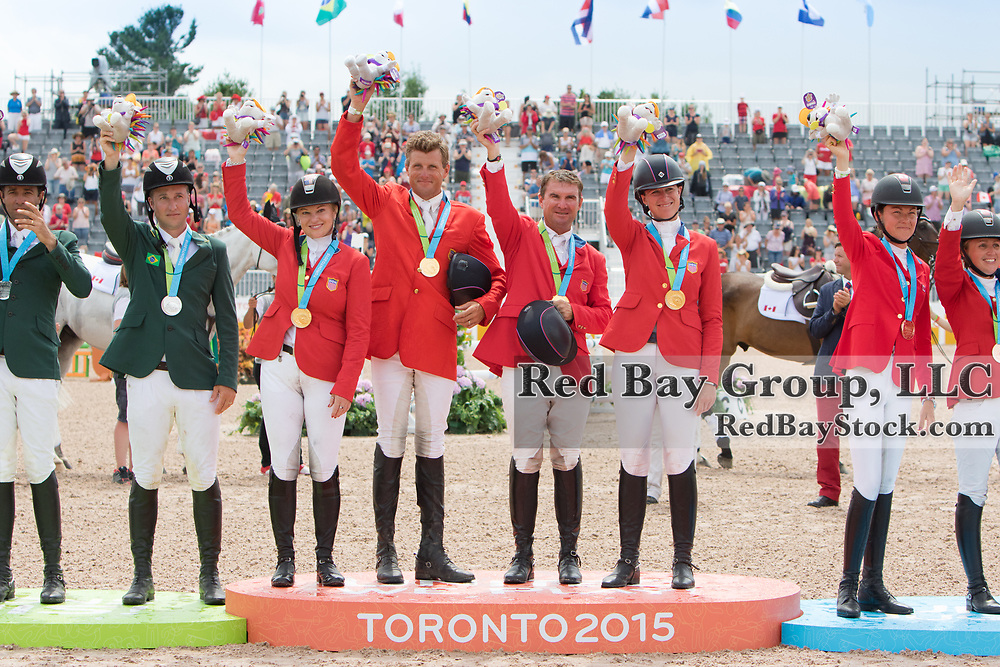 Gold Medal Eventing Team on the podium for USA, Marilyn Little, Boyd Martin, Phillip Dutton and Lauren Kieffer at the OLG Caledon Pan Am Equestrian Park during the Toronto 2015 Pan American Games in Caledon, Ontario, Canada.