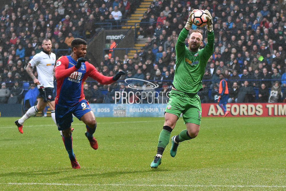 Crystal Palace Forward, Fraizer Campbell (9) and Bolton Wanderers Goalkeeper, Ben Alnwick (13)  during the The FA Cup 3rd round match between Bolton Wanderers and Crystal Palace at the Macron Stadium, Bolton, England on 7 January 2017. Photo by Mark Pollitt.
