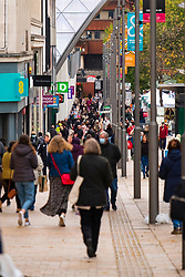 The Moor in Sheffield City Centre on the first day of tier 3 Covid restrictions Saturday 24th October 2020<br /> <br /> www.pauldaviddrabble.co.uk<br /> All Images Copyright Paul David Drabble - <br /> All rights Reserved - <br /> Moral Rights Asserted -