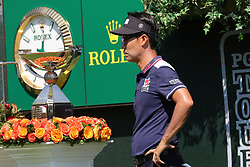 September 20, 2018 - Atlanta, GA, U.S. - ATLANTA, GA - SEPTEMBER 20: Kevin Na checks out the FedEx Cup before teeing off for the first round of the PGA Tour Championship on September 20, 2018, at East Lake Golf Club in Atlanta, GA. (Photo by Michael Wade/Icon Sportswire) (Credit Image: © Michael Wade/Icon SMI via ZUMA Press)