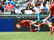 Spanish player Pol Pia scores a try in the game Spain vs South Africa during the Cathay Pacific/HSBC Hong Kong Sevens festival at the Hong Kong Stadium, So Kon Po, Hong Kong. on 8/04/2018. Picture by Ian  Muir.
