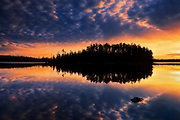 CLouds reflected on Fungus Lake at sunrise<br /> West of Wawa<br /> Ontario<br /> Canada