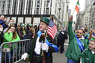 March 16, 2013 - New York, NY, U.S. - 'Leprechaun' NOEL RYAN, an alumnus of Quinnipiac College, greets those in crowd at the 252nd annual NYC St. Patrick's Day Parade.