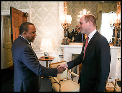 April 17, 2018 - London, London, United Kingdom - Prince William CHOGM London 2018. Britain's Prince William, Duke of Cambridge receives the President of Kenya, Uhuru Kenyatta during an audience at Buckingham Palace in London on the sidelines of the Commonwealth Heads of Government meeting (CHOGM) (Credit Image: © i-Images via ZUMA Press)