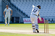 Tom Kohler-Cadmore hits the winning runs during the Bob Willis Trophy match between Yorkshire County Cricket Club and Leicestershire County Cricket Club at Emerald Headingley Stadium, Leeds, United Kingdom on 9 September 2020.