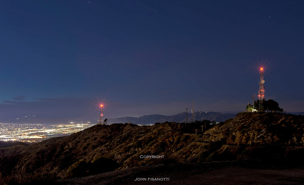 Radio Antennae above the San Fernando Valley at night.