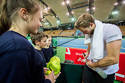 Tom Kocevar Desman of Slovenia with fans during the Day 2 of Davis Cup 2018 Europe/Africa zone Group II between Slovenia and Poland, on February 4, 2018 in Arena Lukna, Maribor, Slovenia. Photo by Vid Ponikvar / Sportida