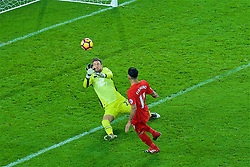 LIVERPOOL, ENGLAND - Monday, December 19, 2016: A Liverpool's Roberto Fermino has shot saved by Maarten Stekelenburg of Everton during the FA Premier League match against Liverpool, the 227th Merseyside Derby, at Goodison Park. (Pic by Gavin Trafford/Propaganda)