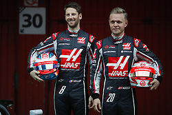 February 26, 2018 - Barcelona, Catalonia, Spain - February 26, 2018 - Circuit de Barcelona-Catalunya, Montmelo, Spain - Formula One preseason 2018; Romain GROSJEAN from France of Haas F1 Team and Kevin MAGNUSSEN from Denmark of Haas F1 Team, Haas VF-18 during the launch of the new car of the team. (Credit Image: © Eric Alonso via ZUMA Wire)
