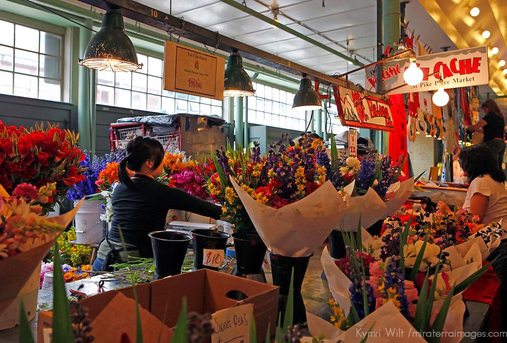 USA, Washington, Seattle. Fresh Flowers at Pike Place Market.