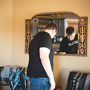 Groomsmen getting ready for a wedding at Hotel Covington, Covington Kentucky