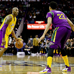Feb 4, 2016; New Orleans, LA, USA; Los Angeles Lakers forward Kobe Bryant (24) against New Orleans Pelicans forward Anthony Davis (23) during a game at the Smoothie King Center. The Lakers defeated the Pelicans 99-96. Mandatory Credit: Derick E. Hingle-USA TODAY Sports