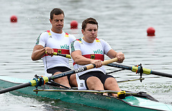 Germany's Paul Schroeter and Laurits Follert in the Men's Pair heat three during day one of the 2018 European Championships at the Strathclyde Country Park, North Lanarkshire
