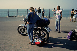 Woman & Motocycle Waiting for Ferry