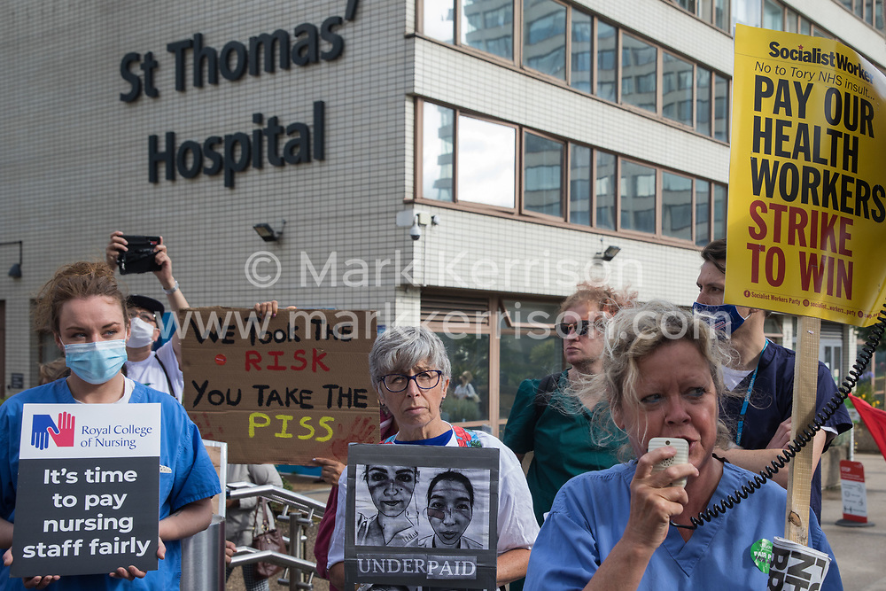 UCH nurse Janet Maiden addresses NHS staff preparing to march from St Thomas' Hospital to Downing Street to protest against the NHS Pay Review Body's recommendation of a 3% pay rise for NHS staff in England on 30th July 2021 in London, United Kingdom. The protest march was supported by Unite the union, which has called on incoming NHS England Chief Executive Amanda Pritchard to ensure that a NHS pay rise comes from new Treasury funds rather than existing NHS budgets and which is shortly expected to put a consultative ballot for industrial action to its members.