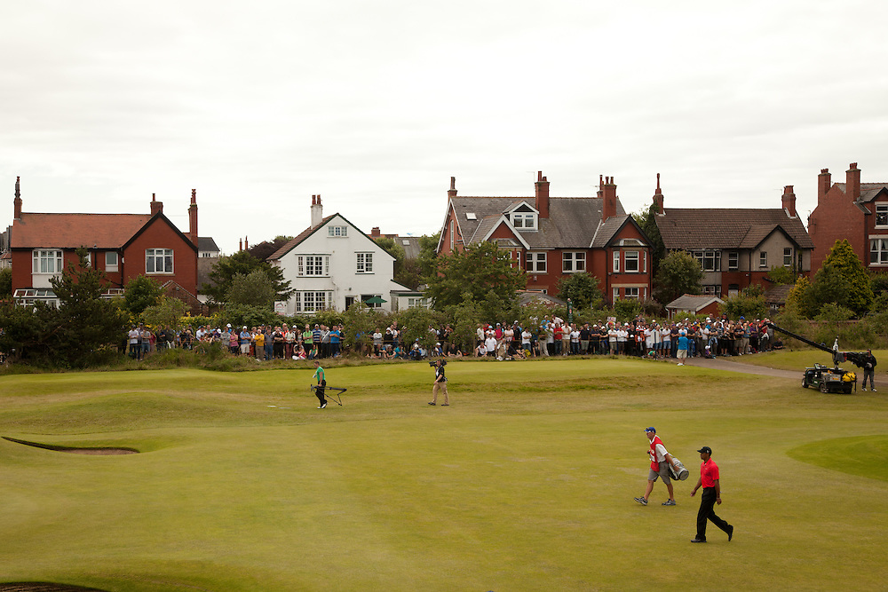 LYTHAM ST. ANNES, ENGLAND - JULY 22:  Tiger Woods walks to the first green during the final round of the 141st Open Championship at Royal Lytham St Annes Golf Club in in Lytham St. Annes, England on July 22, 2012. (Photograph ©2012 Darren Carroll) *** Local Caption *** Tiger Woods