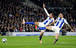 Brighton & Hove Albion's Glenn Murray (left) and Shane Duffy try to get possession of the ball
