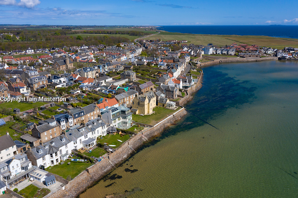 Aerial view of village at Elie in East Neuk of Fife, Scotland, UK